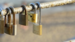 Locks with Names of Couples in Love - stock footage