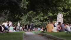 People walk and celebrate Independence Day in the city center Stock Footage