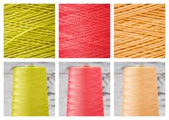 Collage from Spools and Close ups of Synthetic Colorful Threads - stock photo