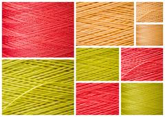 Collage from Close ups of Synthetic Colorful Threads Stock Photos