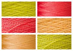 Collage from Close ups of Synthetic Colorful Threads - stock photo