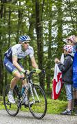 The Cyclist Mathew Hayman Climbing Col du Platzerwasel - Tour de France 2014 Stock Photos