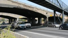 Old Cracking Concrete Highway Overpass Stock Footage