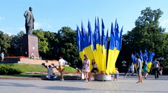 Taras Shevchenko monument in Kiev, Ukraine. Stock Footage