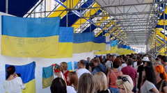 Ukrainian flag show during Independence Day in Kiev, Ukraine. - stock footage
