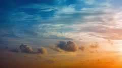 Colorful Tropical Sunset with Puffy Clouds Stock Footage