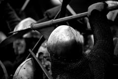 Close-up of Norman soldier fighting with spear Stock Photos