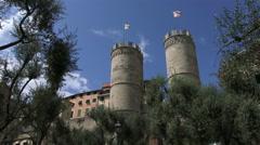 Porta Soprana and olive trees in Genoa Stock Footage