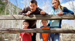 lifestyle leisure Caucasian family parents children vacation park outdoor - stock footage