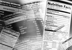 Nutrition information facts on assorted food labels Kuvituskuvat