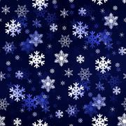 Dark Blue Snowflakes - stock illustration
