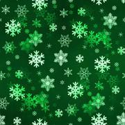 Dark Green Snowflakes - stock illustration