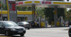 People Are Walking Along Petrol Station Gas Station Lotos In Opole Poland Stock Footage