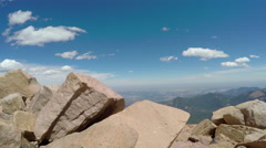 4K pan up of gorgeous Pikes Peak overlook Stock Footage