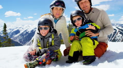 Portrait snow outdoor lifestyle Caucasian family sons sport travel promotion Stock Footage