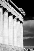 Mono Parthenon colonnade and entablature with floodlights - stock photo