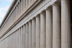 Close-up of marble Stoa of Attalos colonnades Stock Photos
