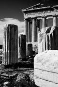 Mono ruined columns and pediment of Parthenon - stock photo