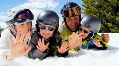 Portrait snow outdoor lifestyle Caucasian family sons mountains sport promotion Stock Footage