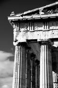 Mono marble columns and pediment of Parthenon - stock photo
