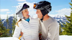 Portrait male female couple winter outdoor skiing snow sport travel activity Stock Footage