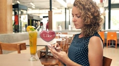 Social Media Concept. Woman Collecting Likes Stock Footage