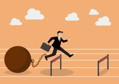 Businessman jumping over hurdle with the weight - stock illustration