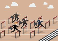 Stock Illustration of Businessman race hurdle competition