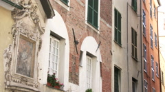 Characteristic old buildings in Genoa, Italy - stock footage