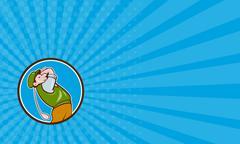 Business card Vintage Golfer Swinging Club Teeing Off Circle - stock illustration