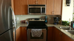 Kitchen Slider 1 High Angle Direct Push In Stock Footage