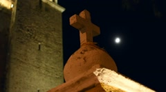 Spooky colonial style cement cross - stock footage