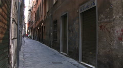 Typical small streets in Genoa, Italy - stock footage