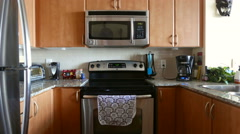 Kitchen Slider 5 Direct Low Angle Pull Back - stock footage