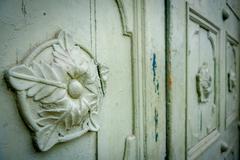 Closeup of main gate to the beautiful historic Cathedral Diocesana at Zipaquira Stock Photos