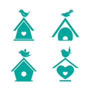 Vector group of bird houses on white background. Stock Illustration
