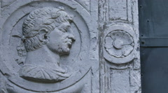 Detail carved on the door of a building in Genoa,Italy - stock footage