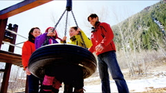 Stock Video Footage of Caucasian family play parents young children healthy outdoor lifestyle active