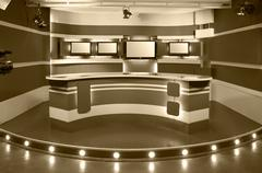 sepia television studio - stock photo