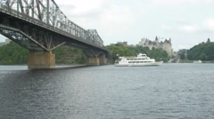 Large boat passing by Parliament hill Canada -zoom pan shot Stock Footage