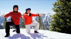 Stock Video Footage of Caucasian family parents children healthy lifestyle snow mountains destination