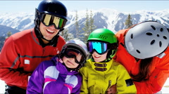 Stock Video Footage of portrait snow outdoor lifestyle Caucasian family promotion winter vacation