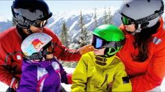 Stock Video Footage of portrait Caucasian family parents children lifestyle snow mountains destination