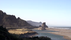 Stock Video Footage of Oregon Coast Scenic: Pan From 101 Highway To Surf