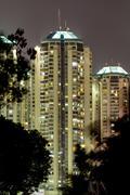 Modern buildings in Jakarta, night shoot Stock Photos