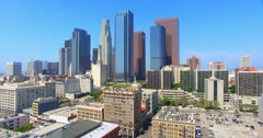 4K, Aerial  view and Panorama of  Los Angeles Downtown Skyline, California Stock Footage