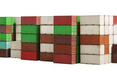 Stack of Containers Cargo isolated on white background with clipping path Stock Photos