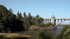 Oregon Coast Scenic: Gold Beach Oregon Bridge Stock Footage