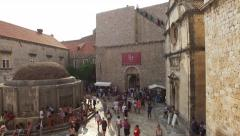 Viem of the wall, Onoforio's Fountain, alley and Bell Tower. Dubrovnik, Stock Footage