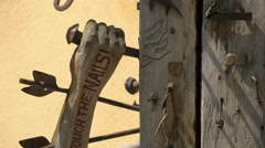 The old Journeymen's Pillar with nails, in Sibiu Stock Footage